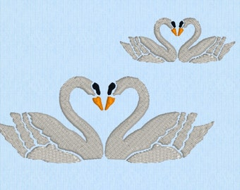 Swan Heart machine embroidery file in two sizes