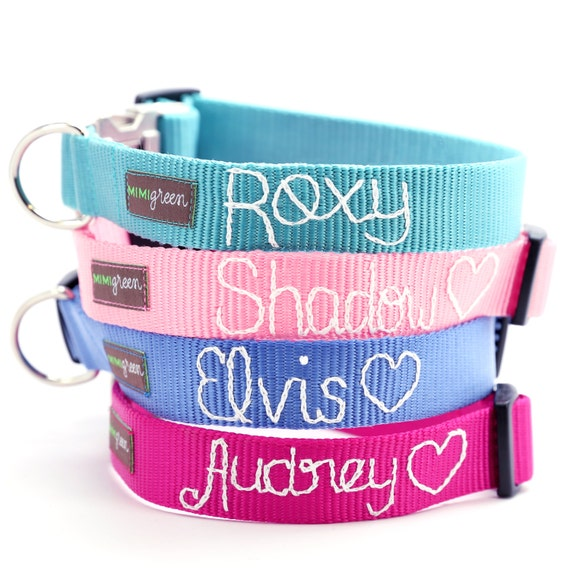 Embroidered Webbing Dog Collar (25 colors to choose from) Personalized with your dog's name