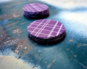 Purple Crosshatch Paper Stickers, Package of 20 Round Sticker Seals, Adhesive Decor, Modern Look, Envelope Seals