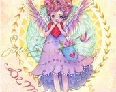 Heart Angel Valentine Cherub Art Print