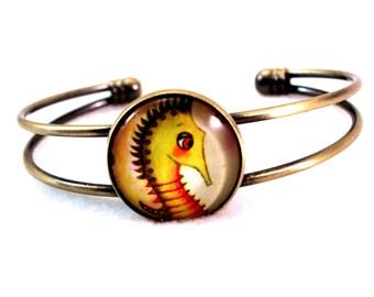 Seahorse Bracelet, Bronze or Silver Cuff Bracelet, Seahorse Art Print, Cute Fish, Antique Gold, Nautical Jewelry, Green, Beach Jewelry