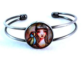 Pirate Bracelet, Bronze Cuff, Antique Silver Cuff Bracelet, Pirate and Parrot Art Print, Antique Gold, Pink Blue, Beach Nautical Jewelry