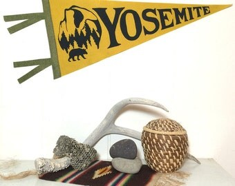 Yosemite Pennant Silkscreen Screenprint on Gold Wool Felt