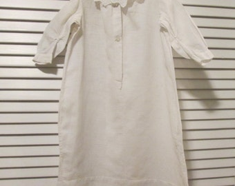 Vintage Baby Clothes/ Doll Clothes - White Muslin Gown - Early 1900s