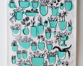 Potted Plants Tea Towel. Hand drawn plan illustrations on beautiful tea towel