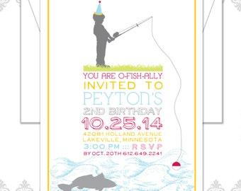 Fishing Birthday Birthday Invite - Little Boy Birthday Invitation - Fishing Birthday Party Invite - Fish Invite - Girl Fishing Invitation