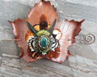 Fall Sycamore Leather Leaf Barrette - Luxury Hair Accessory - Autumn Leaf with Beaded Moss Agate and Featherwork Mandala - Large