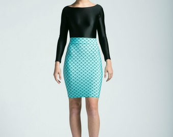 Seafoam Mermaid Bodycon Pencil Skirt