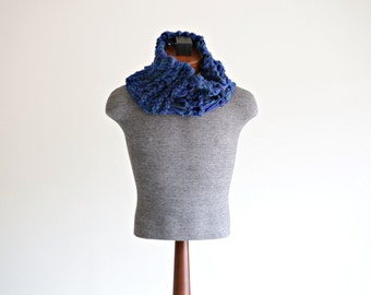Blue Mens Cowl Scarf, Mens Blue Scarf Blue Neck Warmer Scarf for Men Blue Cowl
