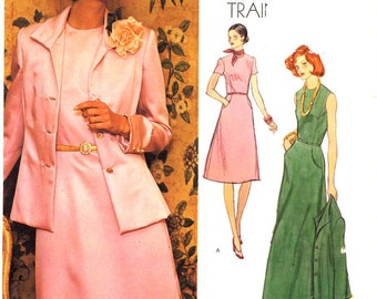 Dress Sewing pattern Evening wear jacket by Teal Traina American designer Vogue 1185 Mother of the Bride Uncut Bust 37