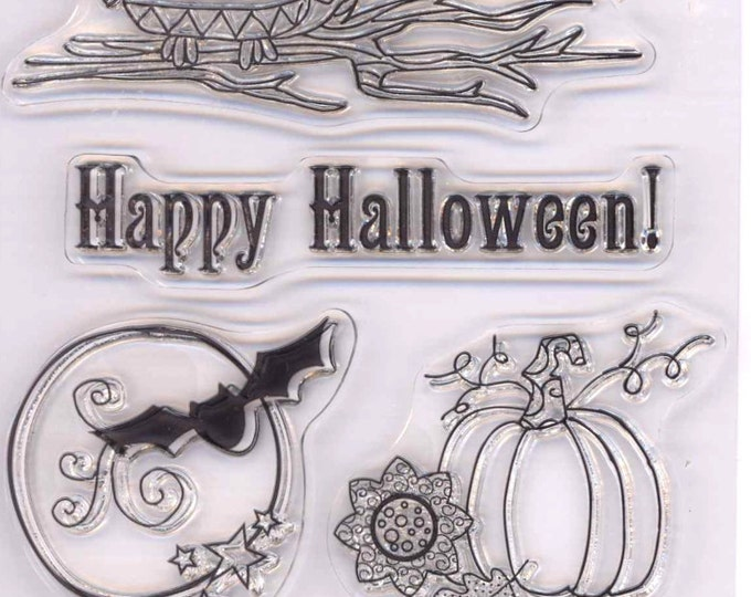 Fall Halloween Stamps Hampton Art Clear Art stamps Set for Scrapbooking Collage Owl Spiderweb pumpkins stamp set