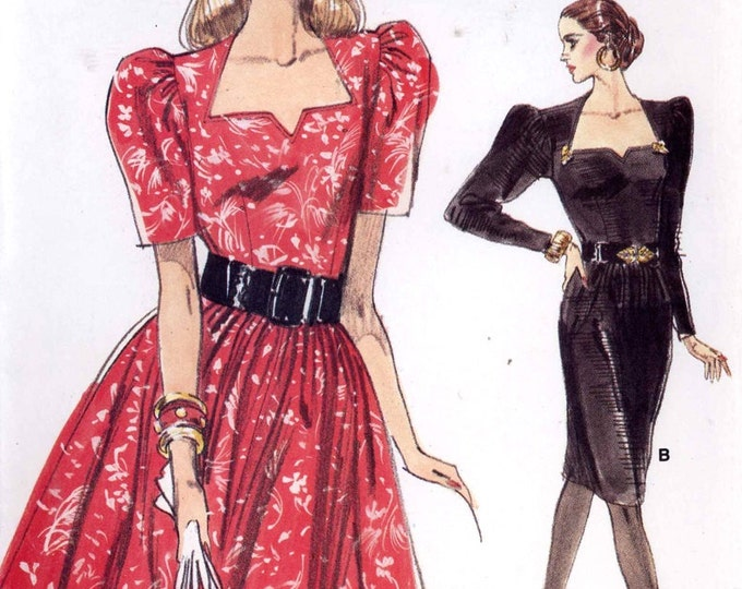 Chic Cocktail Dress 80s vintage full or slim dress with sweetheart neckline sewing pattern Vogue 7183 UNCUT Sz 14 to 18
