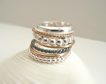 The Stack - Set of 7 Sterling Silver and Gold Filled Rings - Different Styles - by Stilosissima - California