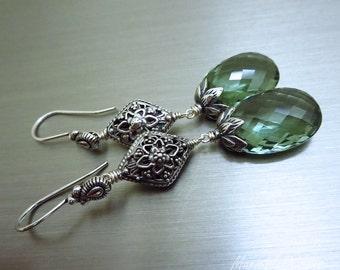 SALE Green Amethyst-Balinese Sterling Silver Long Dangle Earrings