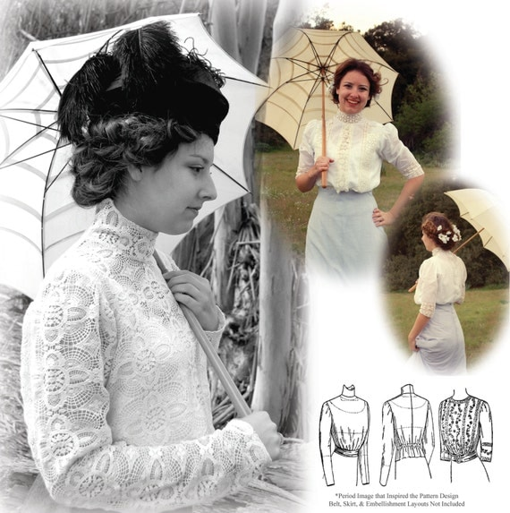 Titanic Edwardian Sewing Patterns- Dresses, Blouses, Corsets, Costumes E-Pattern- 1900-1910s Blouse & Guimpe- SIZE PACK 2- PDF Sewing Pattern- Wearing History $12.00 AT vintagedancer.com