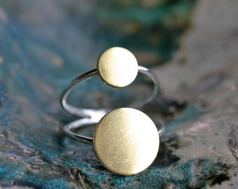 gold cocktail ring minimalist ring gold dot ring modern sterling silver ring double band two dot ring gold boho ring moon ring SUN SPOT RING