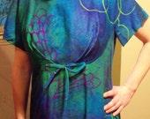 SPRING CLEANING SALE- Surfside Sportswear Bark Cloth Dress Empire Waist Long Train Maxi Dress Hawaii