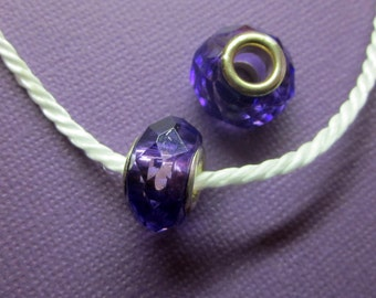 Purple Acrylic Gem Spacer Bead European Charm Sized