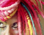 Pink Candy Cane Hair, Dreadlock Wig, bright colorful dread locks, Circus Performer, Halloween Party Wig, Cosplay Costume, Crude Things