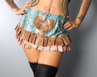 Super Short Mini Skirt - Burlesque Costume, Heart Patch, micro mini skirt, blue and tan snake print, ruffle trim, short skirt.