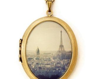 I Left My Heart In Paris - Paris France Cityscape Eiffel Tower Photo Locket Necklace