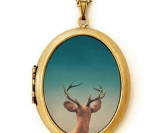 Photo Locket - Stargazer - Dreamy Deer Star Gazing Photo Locket Necklace
