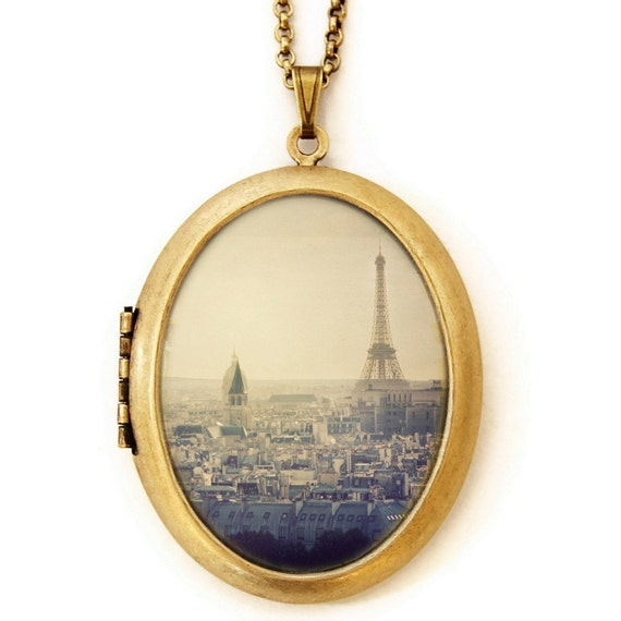 I Left My Heart In Paris - Paris France Cityscape Eiffel Tower Photo Locket Necklace