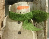 Snowman Burlap Glittered Christmas Decoration Holiday Decoration Wall Hanging Wire Hanger