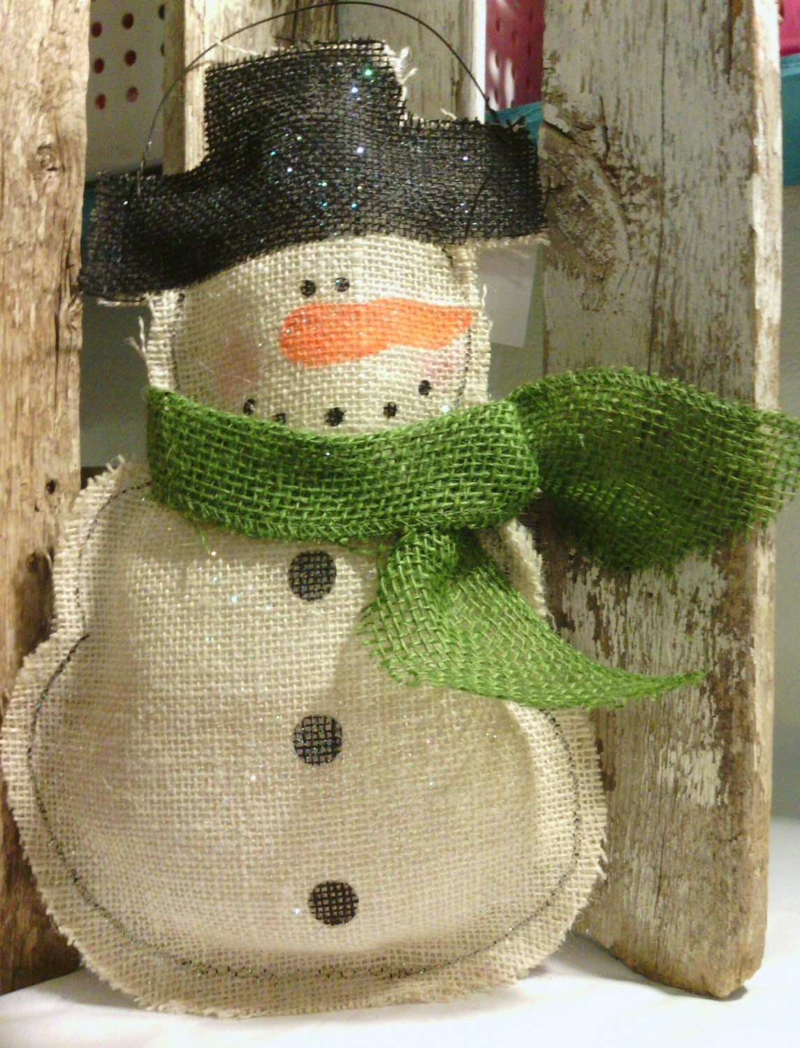 Snowman burlap glittered christmas decoration holiday for Snowman made out of burlap