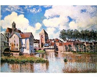Moret sur Loing - Alfred Sisley - Fine Art Print - Reproduction Print form 1979 Vintage Book - 12 x 9