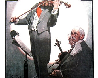 The Virtuoso, Clown - Large Norman Rockwell Print - 1979 Vintage Book Page - Saturday Evening Post Cover - 14 x 12