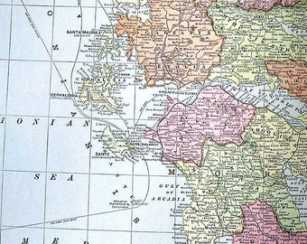 Map of Greece - Large 1901 Antique Map - from Cram's World Atlas - 22 x 14