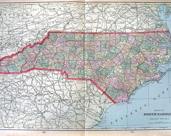 Large Map of North Carolina - US State Map - Large 1901 Antique Map - from Cram's World Atlas - 22 x 14