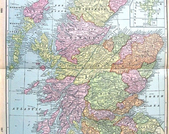 Map of Scotland - Large 1901 Antique Map - from Cram's World Atlas - 22 x 14