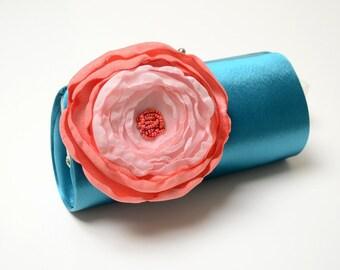 Teal Bridal Clutch * Teal Bridesmaid Clutch * Alternative Bouquet Clutch * Coral & Pink  Flower * Formal Cocktail Clutch