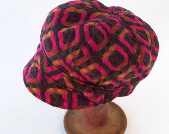 Womens Newsboy Hat in Geometric Weave Wool in Pink and Charcoal Gray - Womens, Girls Hats, Gift for Her