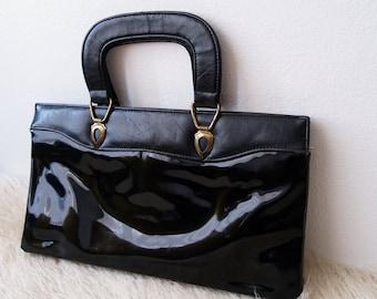 1960s Pleather Handbag Black Brief Patent and Leather Purse Accordion shape