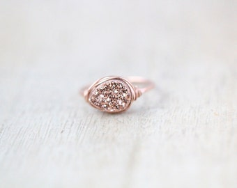 Druzy Ring , Rose Gold Teardrop Gemstone Quartz , Gilded Statement Ring , Wire Wrapped Ring