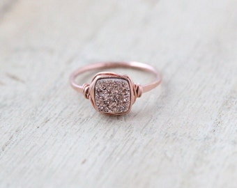 Druzy Ring , Rose Gold Gemstone Quartz , Square Cushion Cut , Bezel Wrapped Stacking Fashion , Minimalist Gifts