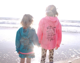 """Little Women Quote """"I am not afraid of storms..."""" Toddler Sweatshirt/Zip Hoodie. Sizes 2T- 6T. Made To Order"""