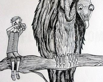 Viktor and Vincent - Illustration Framed Original