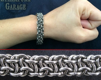 Bracelet - Steel Vipera Berus (Basketweave) - Stainless Chainmaille Jewelry