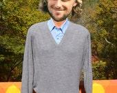 vintage 70s golf sweater PICKERING heathered gray v-neck soft preppy Medium 80s