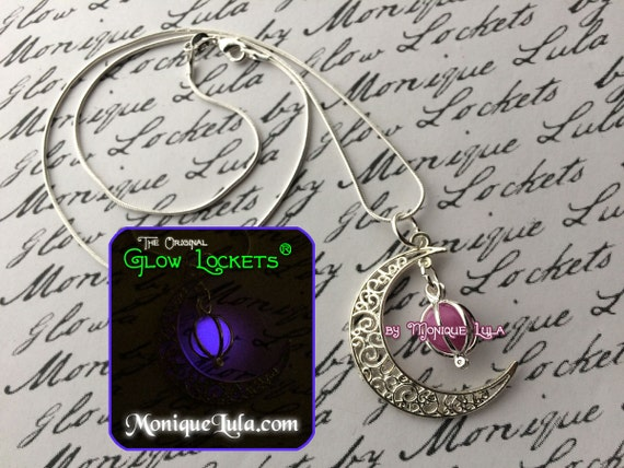 Violet Crescent Moon Glowing Orb Necklace Purple Glow