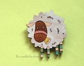 Wooden sheep brooch, farm animal jewelry, white sheep pin, cute wood sheep