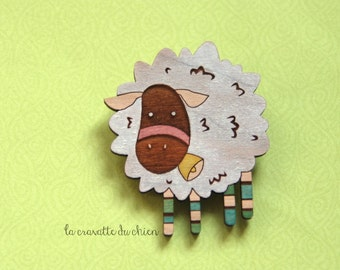 Wooden sheep brooch, farm animal jewelry, white sheep pin, cute wood sheep