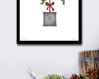 Dachshund topiary dog garden artwork illustration by stephen fowler geministudio UNFRAMED