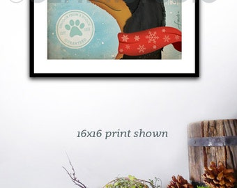 Dachshund mistletoe company dog graphic artwork giclee archival signed artists print by Stephen Fowler PIck A Size