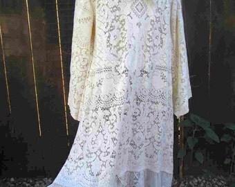 Beach Bride 20s style Crochet lace vintage cream Lace Dress Vintage Wedding gown beach maxi dress M