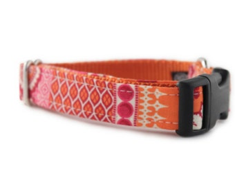 Orange Dog Collar - Orange and Pink Patterned Dog Collar - Ishya In Orange Dog Collar - Adjustable Collar - Collar for Girl - collar for dog
